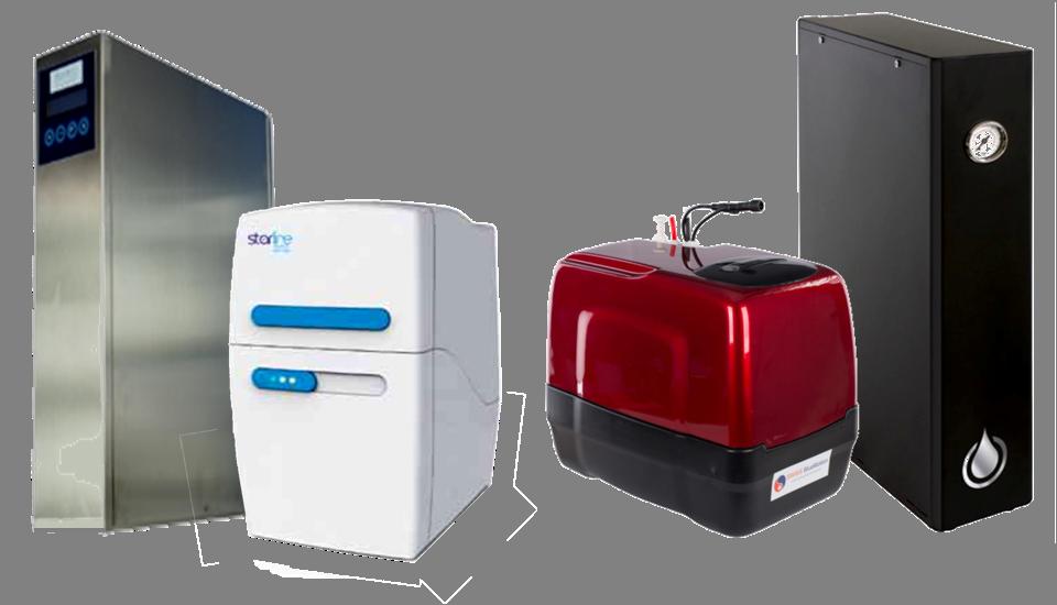 Bildcollage von Filtersystemen Direktflußanlagen, Filteranlagen mit Tank